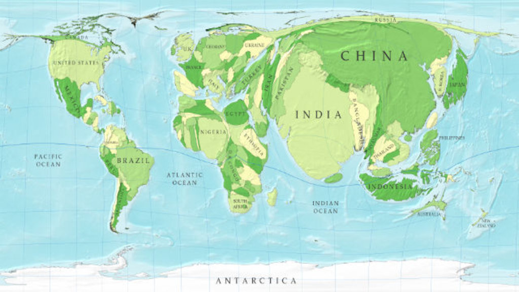 96 a cartogram of the worlds population big think this map is part of a series of cartograms in which the actual geography is distorted in order to demonstrate information about the countries shown gumiabroncs Choice Image