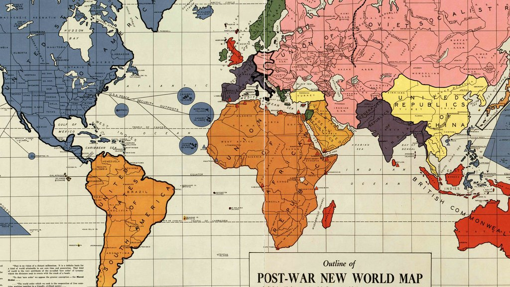 A 1942 map of the new world order big think published in philadelphia in early 1942 this outline of the post war new world map created by maurice gomberg shows a proposal to re arrange the gumiabroncs Choice Image