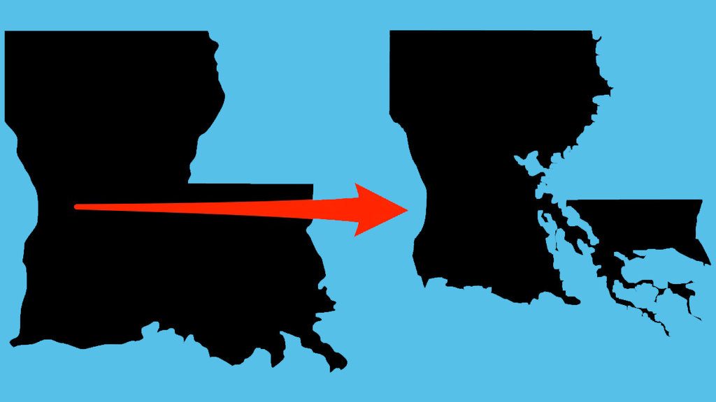 Louisianas State Map Is Changing Due To Flooding And Climate - Louisana state map