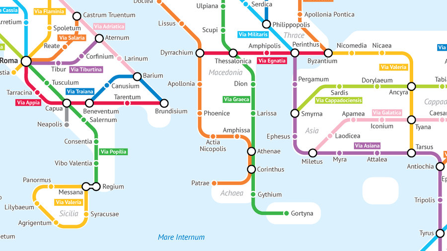 A Tube-style Map of Roman Roads