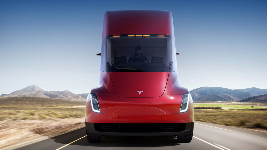 Tesla Reveals a Slick Electric Semitruck