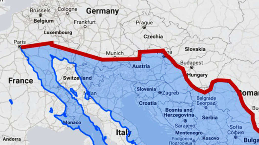 Us mexico border wall would divide europe in half big think us border wall with mexico overlaid on a map of europe reddit gumiabroncs Choice Image