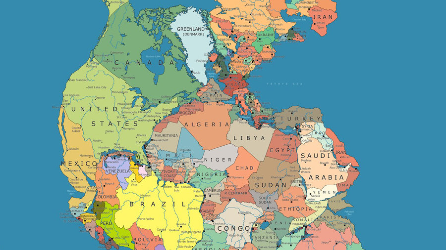Which countries would be your neighbors on the supercontinent Pangea?