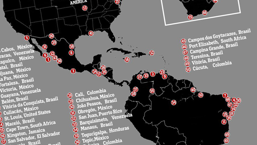 Where are the deadliest cities on Earth 84 of them are in Latin