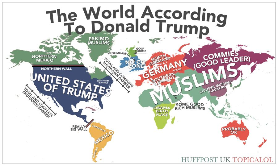 the first map from the huffington posts uk edition riffs on trumps anti muslim tantrum over representing the muslim danger by labelling greenland as