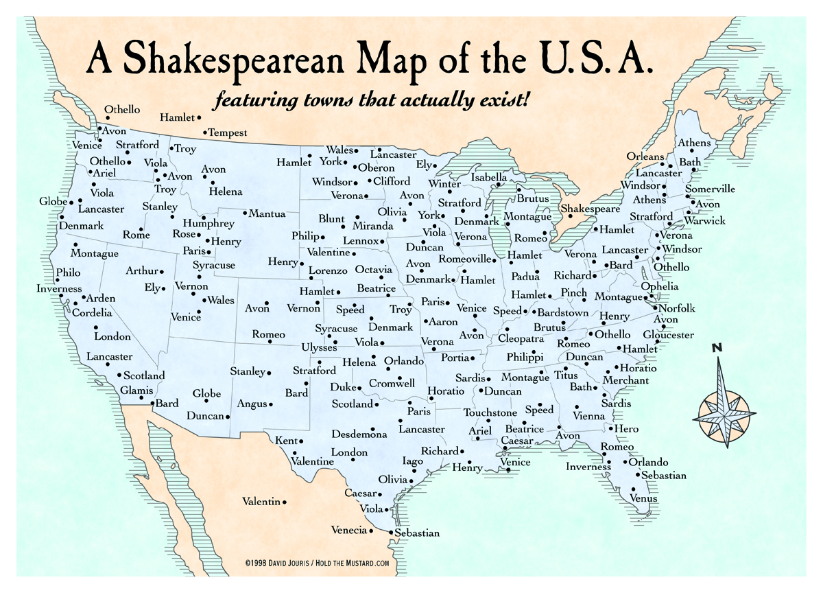A Map Of Americas Shakespeare Towns Big Think - Map of the us weird locations
