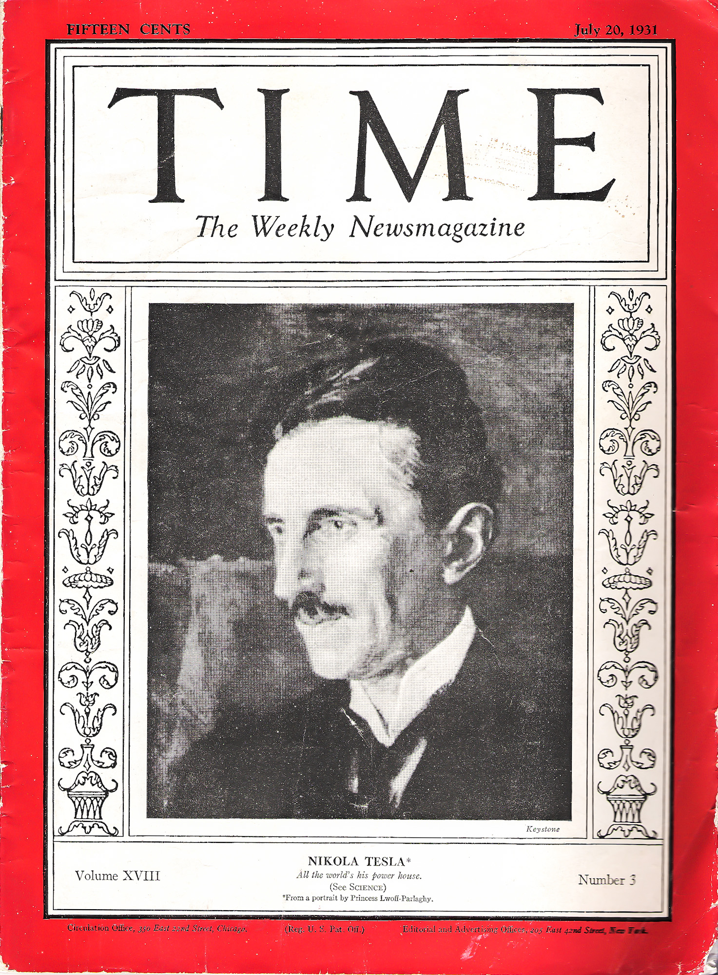 Tesla on the 1931 cover of Time Magazine