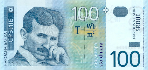 Tesla on the Serbian dinar note