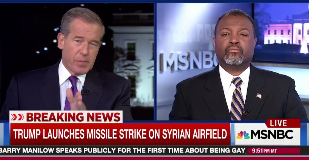 Brian Williams hosting his show on MSNBC