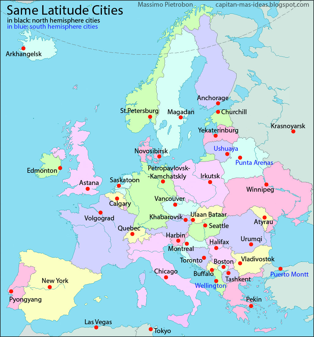 European Capitals Replaced by Cities with the Same Latitude Big