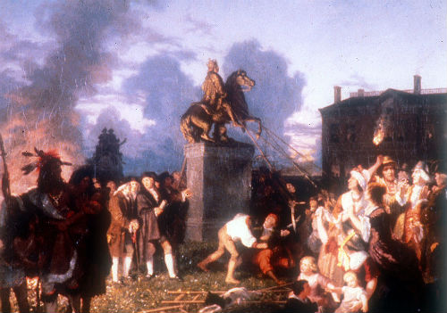 American Revolutionaries removing a statue of George III, 1776