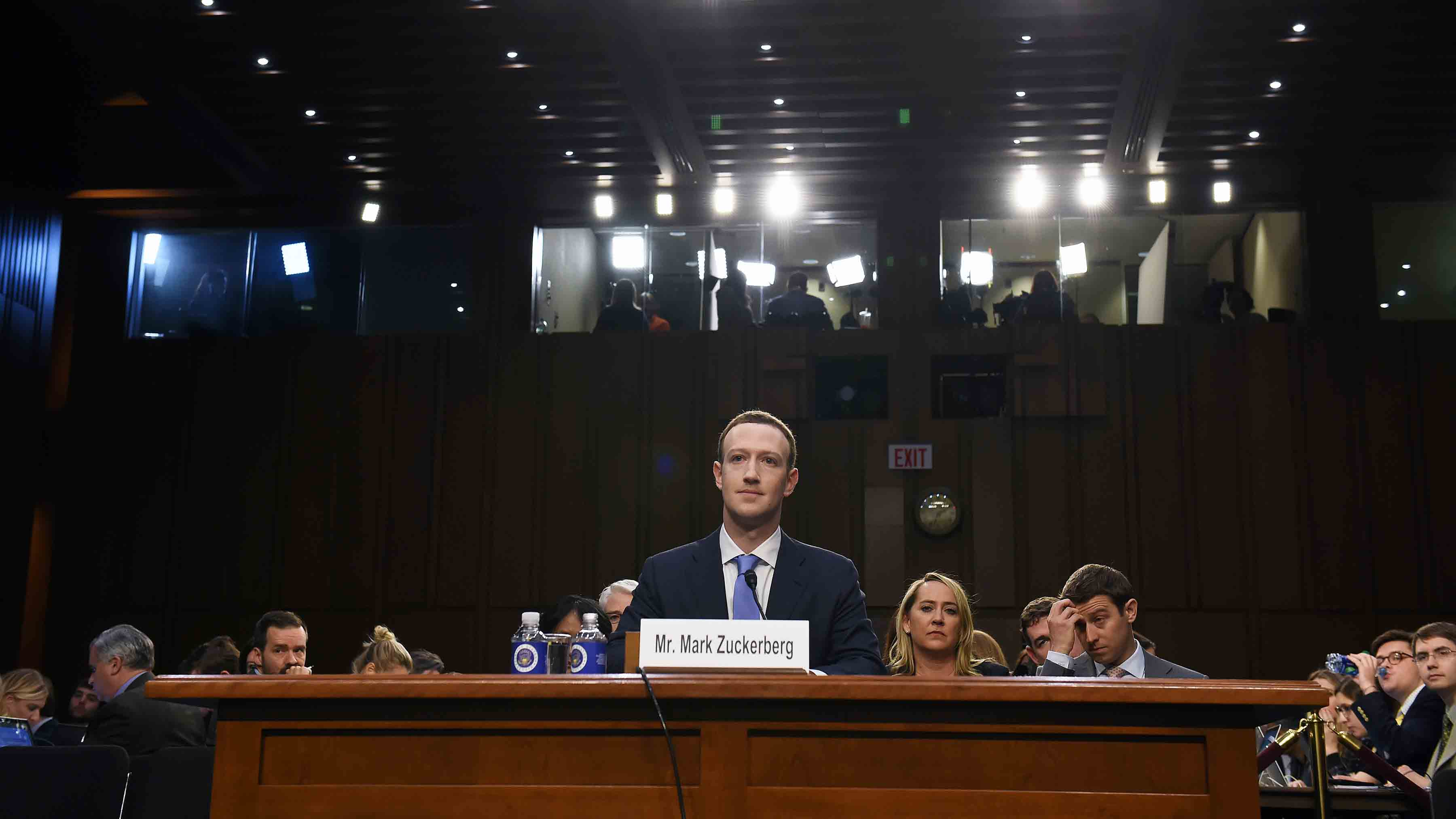 Facebook CEO, Mark Zuckerberg appears for a hearing at the Hart Senate Office Building on Tuesday April 10, 2018 in Washington, DC. Zuckerberg, who is the CEO of Facebook is appearing on Capitol Hill Tuesday. (Photo by Matt McClain/The Washington Post via Getty Images)