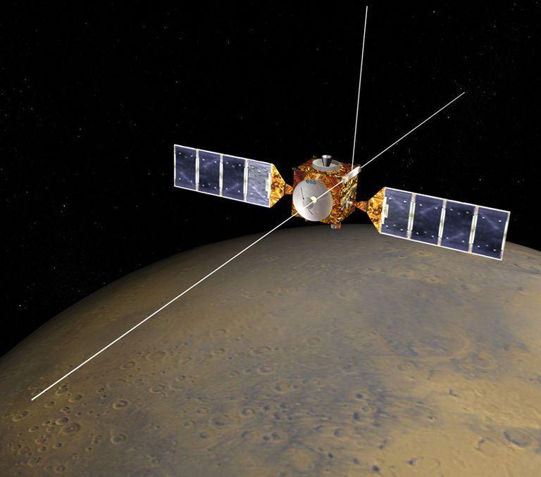 The Mars Express spacecraft with its 40-meter MARSIS antenna deployed. NASA/JPL/CORBY WASTE